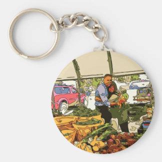 Veggies frescos en el mercado de los granjeros llavero
