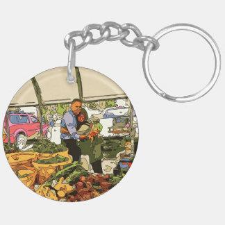 Veggies frescos en el mercado de los granjeros llavero redondo acrílico a doble cara