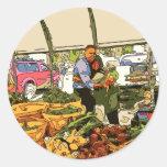Veggies frescos en el mercado de los granjeros pegatina redonda