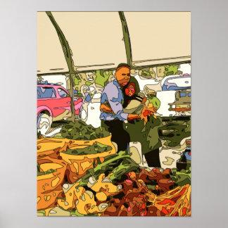 Veggies frescos en el mercado de los granjeros póster