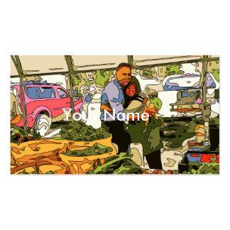 Veggies frescos en el mercado de los granjeros tarjetas de visita