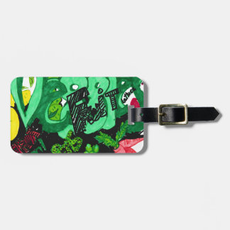 """Veggies & Fruit"" Luggage Tag w/ leather strap"