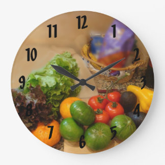 Veggies in Buenos Aires w Numbers Large Clock