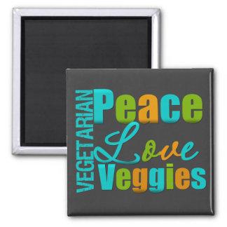 Veggies vegetarianos del amor de la paz imán cuadrado