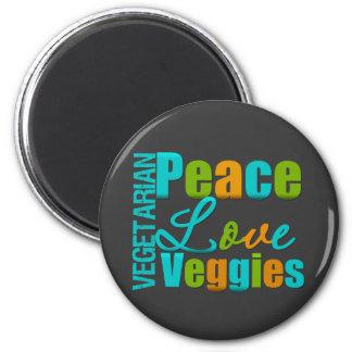 Veggies vegetarianos del amor de la paz imán redondo 5 cm