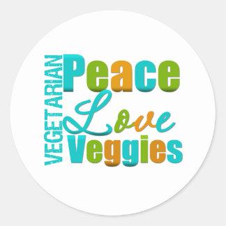 Veggies vegetarianos del amor de la paz pegatina redonda