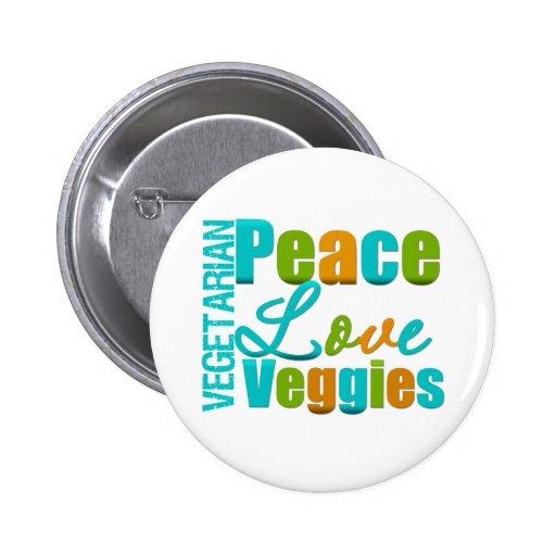 Veggies vegetarianos del amor de la paz pins