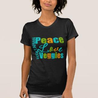 Veggies vegetarianos del amor de la paz camisetas