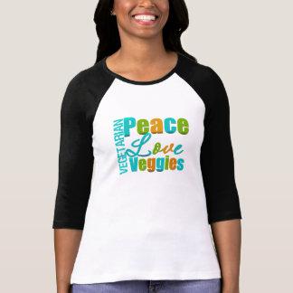Veggies vegetarianos del amor de la paz camiseta