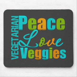 Veggies vegetarianos del amor de la paz tapete de ratón