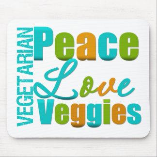 Veggies vegetarianos del amor de la paz alfombrilla de ratones