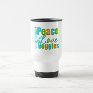 Veggies vegetarianos del amor de la paz taza de viaje de acero inoxidable