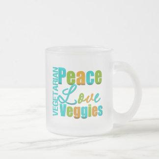Veggies vegetarianos del amor de la paz taza cristal mate