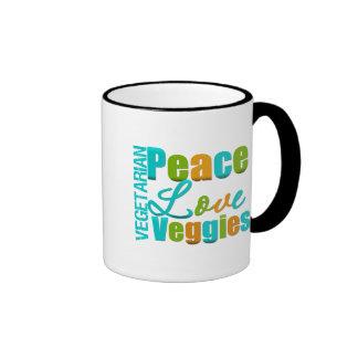 Veggies vegetarianos del amor de la paz taza a dos colores