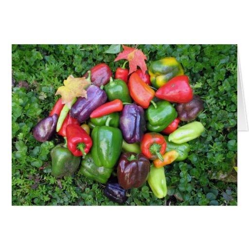 Veggies y hojas de arce coloridos tarjeta de felicitación
