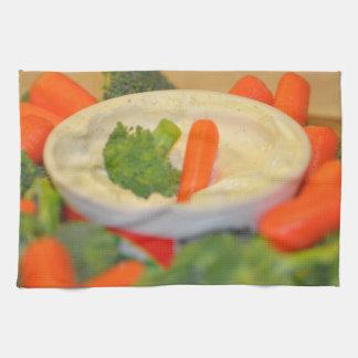 Veggies y toalla de cocina de la inmersión