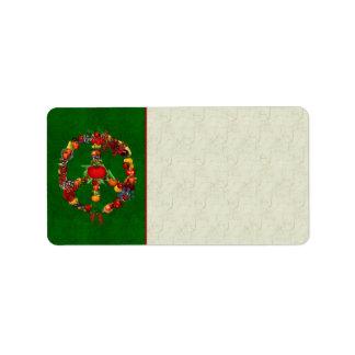 Vegie Peace Sign Custom Address Label
