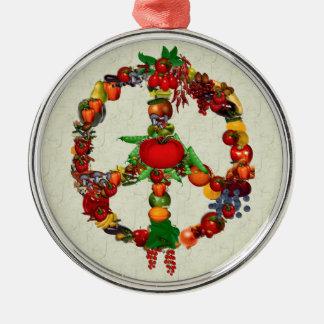 Vegie Peace Sign Round Metal Christmas Ornament