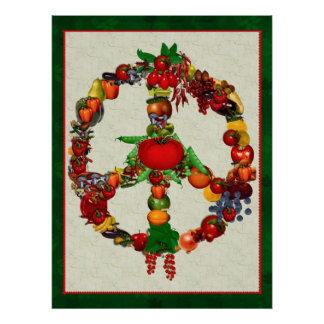 Vegie Peace Sign Poster