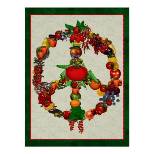 Vegie Peace Sign Posters