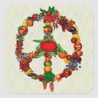 Vegie Peace Sign Square Sticker