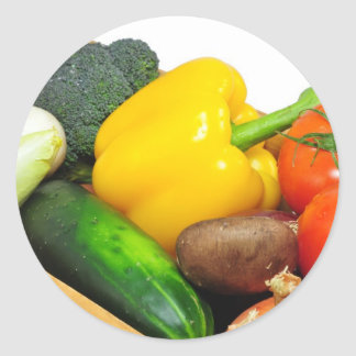 Vegtables In A basket Classic Round Sticker