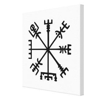 Vegvísir (compás de Viking) Impresiones En Lienzo Estiradas