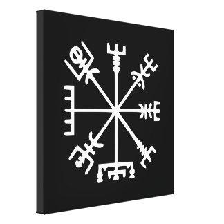 Vegvísir (compás de Viking) Impresión En Lona Estirada