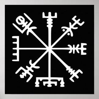 Vegvísir (compás de Viking) Póster