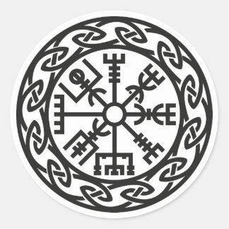 Vegvísir, Iceland, Traveler's Charm, Protection Classic Round Sticker
