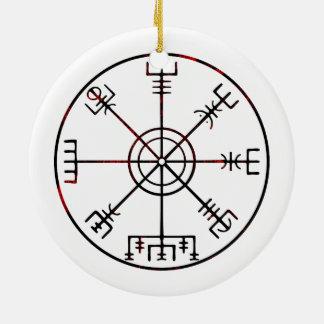 Vegvisir Icelandic Protective Runes Ceramic Ornament