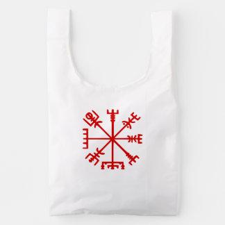 Vegvísir rojo sangre (compás de Viking) Bolsa Reutilizable