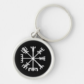 Vegvísir (Viking Compass) Silver-Colored Round Keychain