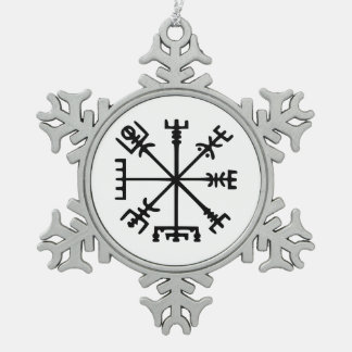 Vegvísir (Viking Compass) Snowflake Pewter Christmas Ornament