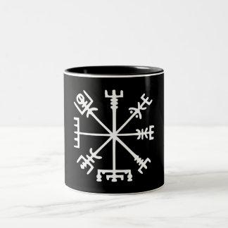 Vegvísir (Viking Compass) Two-Tone Mug