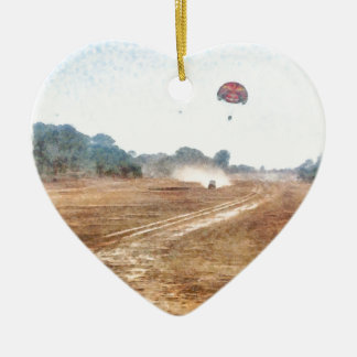 Vehicle and parasailing over land ceramic ornament