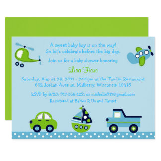 Vehicle Baby Shower Card
