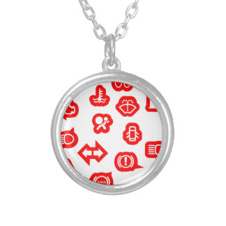 Vehicle Dash Warning Symbols Silver Plated Necklace