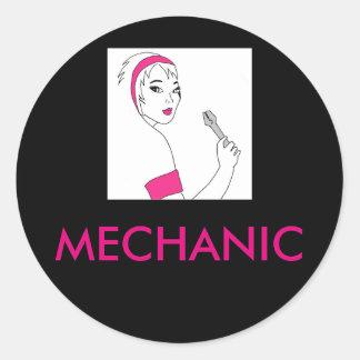 Vehicle Repair Female Mechanic Classic Round Sticker