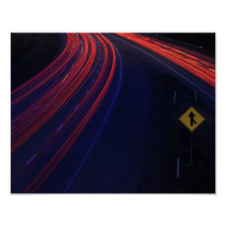 Vehicle Traffic Tail Light Trails Poster