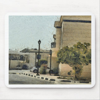 Vehicles in residential area mouse pad
