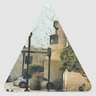 Vehicles in residential area triangle sticker