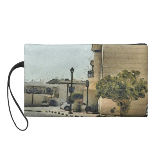 Vehicles in residential area wristlet purse