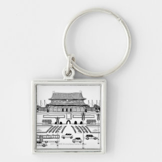 Vehicles on road by pagoda keychain