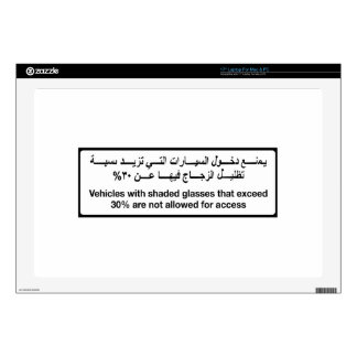 Vehicles with Shaded Glasses, Traffic Sign, UAE Laptop Decal