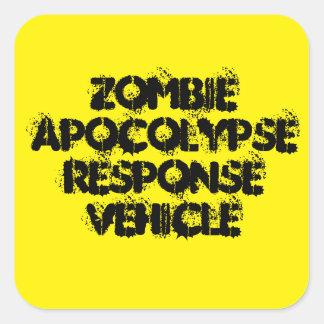 Vehículo de la respuesta de Apocolypse del zombi Pegatina Cuadrada