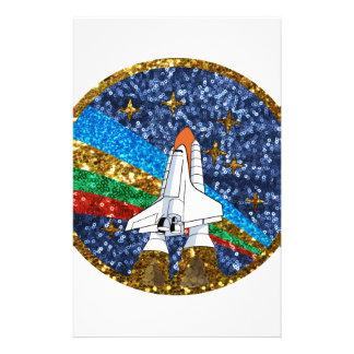 vehículo espacial de la lentejuela papeleria personalizada