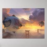 Vehículo espacial y puente grandes del héroe póster
