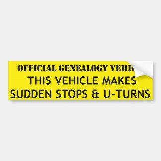 Vehículo oficial de la genealogía pegatina para auto