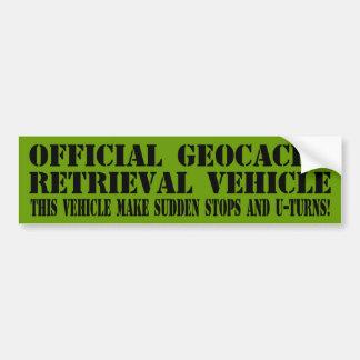Vehículo oficial de la recuperación de Geocache Pegatina De Parachoque